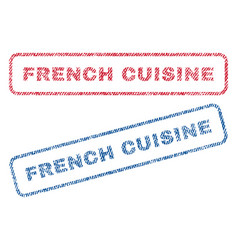 French cuisine textile stamps vector