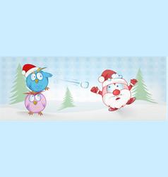 funny owl and santa claus cartoon on christmas vector image
