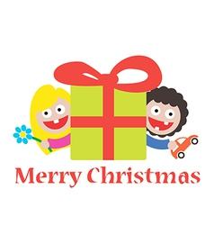 Girl and boy merry christmas gift vector