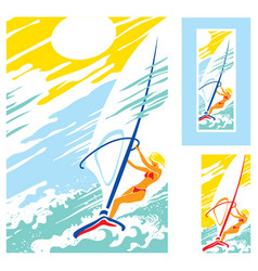 girl sea sun windsurfing vector image