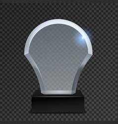 Glass acrylic trophy crystal award plate vector