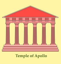 Greece temple of apollo outline flat icon vector