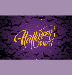 halloween glowing night background with bats vector image