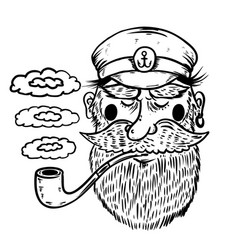 Hand drawn captain sailor with smoking pipe vector
