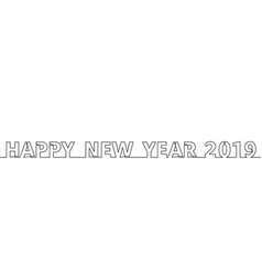 happy 2019 one line vector image