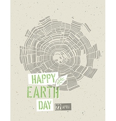 Happy Earth Day Poster Tree rings symbolic on the vector image