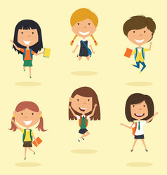 happy school girls jumping outdoor vector image