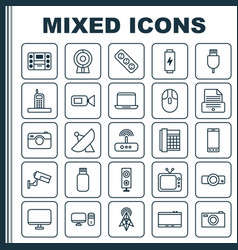 Hardware icons set collection of charge vector