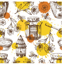 honey seamless pattern with drops flowers vector image
