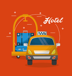 Hotel luggage trolley taxi service vector