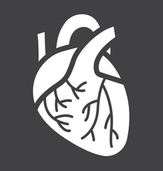 human heart glyph icon medicine healthcare vector image