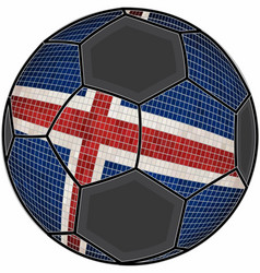 Iceland flag with soccer ball background vector