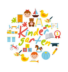 Icons set kinder garten vector