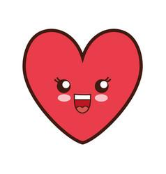 Kawai heart icon vector