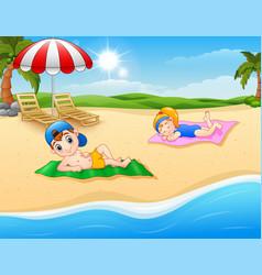 Kids sunbathing on the beach mat vector