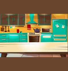Kitchen interior background cartoon vector
