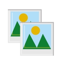 Landscape picture of mountain and sun design vector