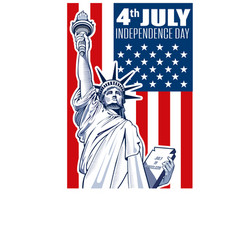 Liberty statue independence day vector