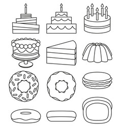 line art black and white 12 dessert icon set vector image