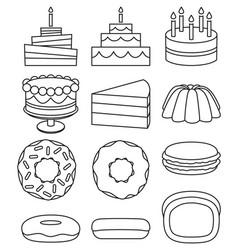 Line art black and white 12 dessert icon set vector