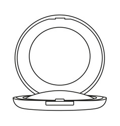 Line art black and white blusher with mirror vector