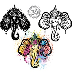 Lord ganesha set vector