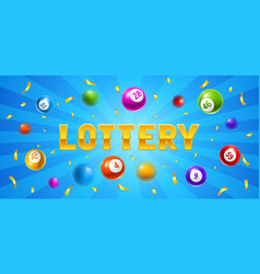 lottery or bingo card with colored number balls vector image