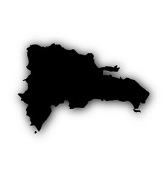 Map of the dominican republic with shadow vector