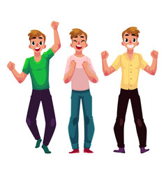 Men boys guys friends rejoicing cheering vector