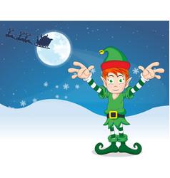 merry christmas elf vector image