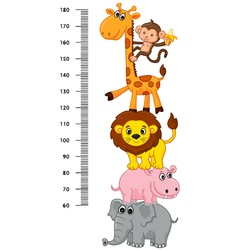 Meter wall with funny Cheerful animals vector image