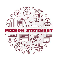 mission statement round red outline vector image