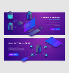 money transfer operation and online banking vector image