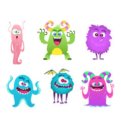 Monsters mascot furry cute gremlin troll bizarre vector