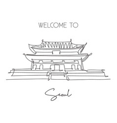 One continuous line drawing gyeongbokgung palace vector