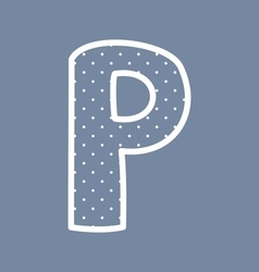 P alphabet letter with white polka dots on blue vector image