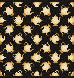 Pattern with a gold teapots vector