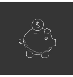 Piggy bank with dollar coin Drawn in chalk icon vector