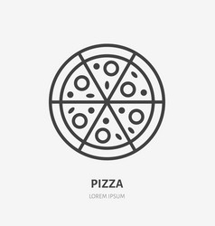 pizza flat line icon thin sign of italian vector image