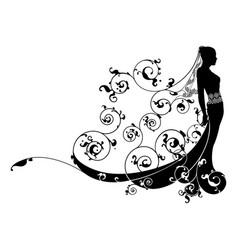 princess bride wedding dress concept vector image
