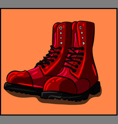 Red boots with black laces fashion c vector