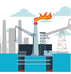 Refinery plant and platform oil industry vector