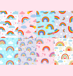 seamless rainbow pattern stars clouds and vector image