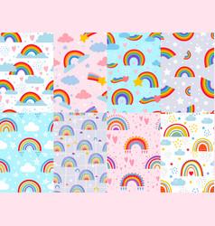 seamless rainbow pattern stars clouds vector image