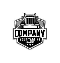 semi truck logo emblem logo template vector image