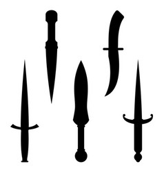 set dagger knives black silhouettes with very vector image