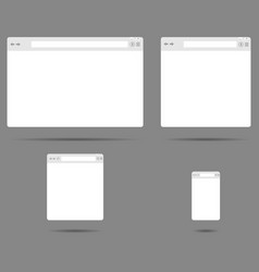 set of simple browser windows on a gray background vector image