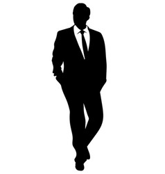 Silhouette of a business man in a suit walking vector