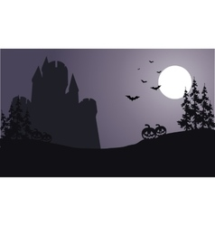 Silhouette of big castle scary halloween vector