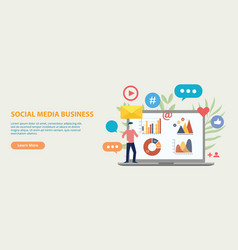 social media business icon website template vector image